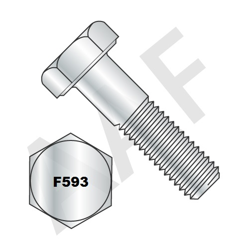 Stainless Steel 18 8 HHCS, Fully Threaded (inch) ASTM F593