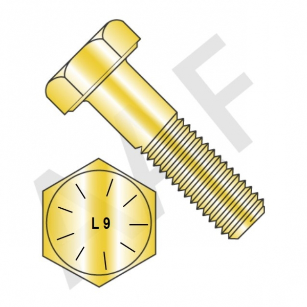 L9 Hex Cap Screws, Zinc & Yellow Made in USA (inch)